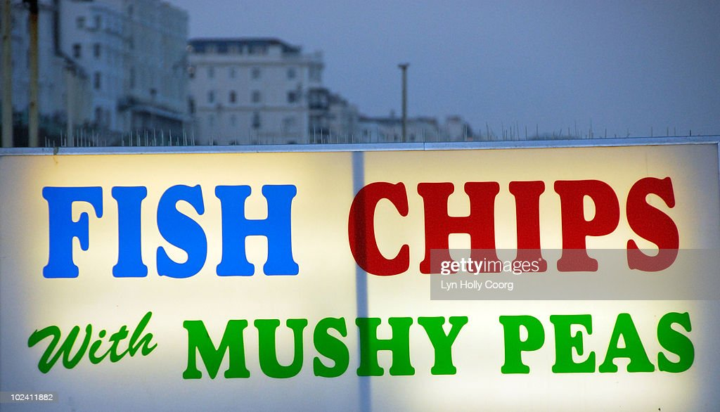 Fish and Chips neon sign : Stock Photo