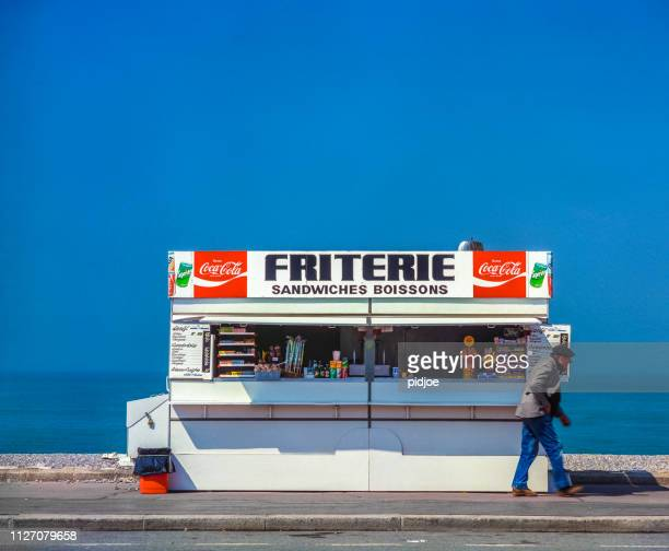 fish and chips shop on the belgium coast - flanders belgium stock pictures, royalty-free photos & images
