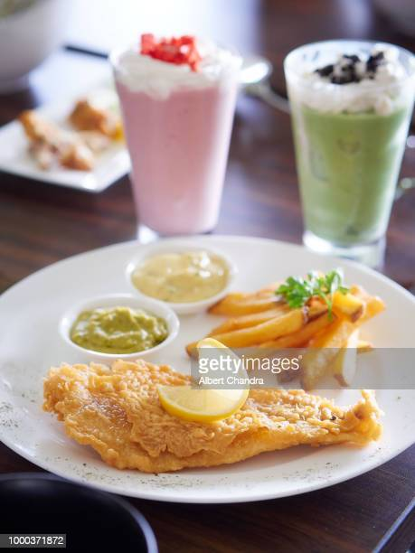 fish and chips with blended drinks