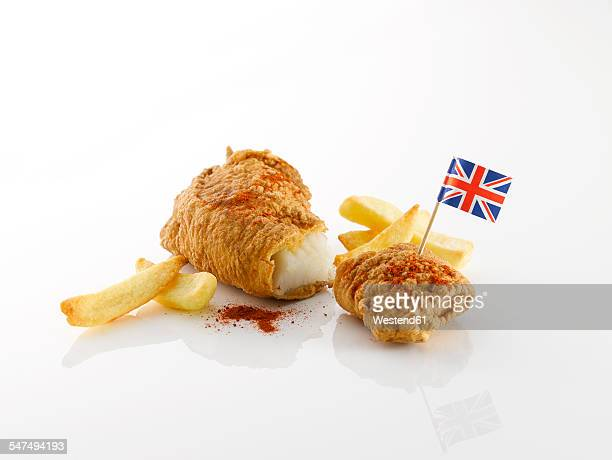 Fish and chips with British flag