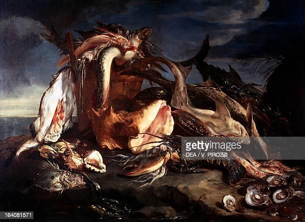 Fish and crustaceans by Marco de Caro oil on canvas 126x175 cm Rome Galleria Nazionale D'Arte Antica Di Palazzo Corsini