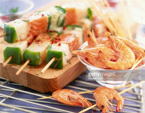 fish and prawn skewers