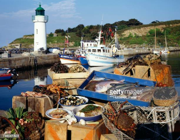 Fish and seafood market stall in Belle Ile Brittany