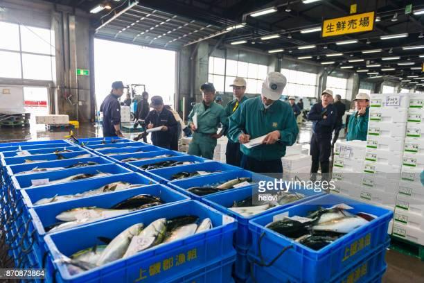 函館魚市場、日本の魚のオークション - せり売り ストックフォトと画像