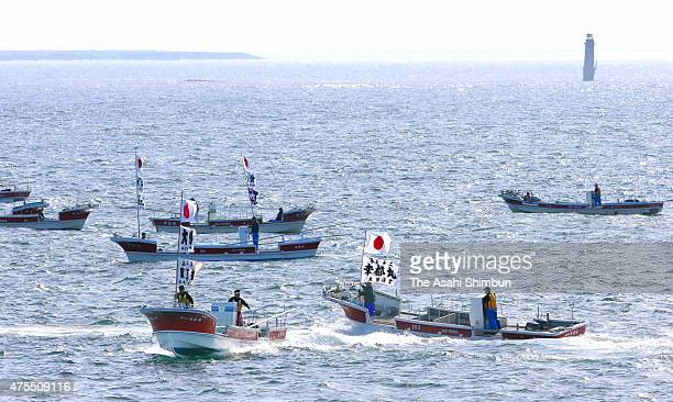 Fish boats sail toward kelp fishing area in the Northern Territories 37kilometer off Nemuro on June 1 2015 in Nemuro Hokkaido Japan Japan agreed with...