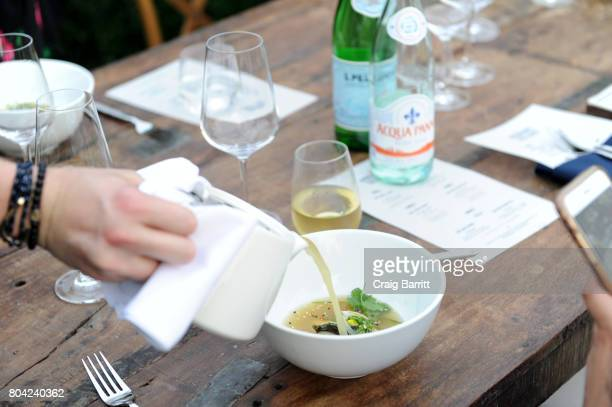 Fish Bone Broth prepared by Chef April Bloomfield during SPellegrino Taste Guide Event With Chefs April Bloomfield Ludo Lefebvre at Hudson River Park...