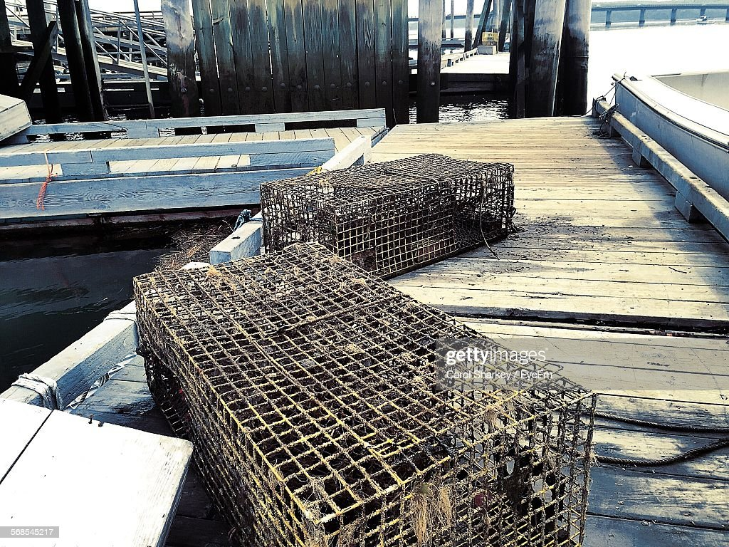 Fish Crate On Pier : Stock Photo