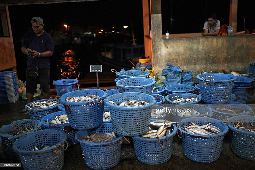 Fish dealers wait for customers at the Sandakan central fish market in the Malaysian Borneo state of Sabah on February 4, 2013. Sandakan is the second-largest city in Sabah, eastern Malaysia, on the northeastern coast of Borneo.