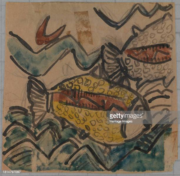Fish Design for a Ceramic Plate, ca. 1930-1939. Artist Holcha Krake.
