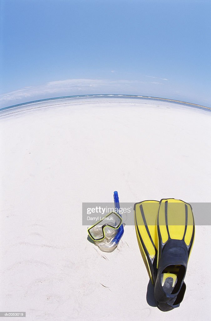 Fish Eye Lens Shot of a Scuba Mask and Swimming Flippers on a Beach : Stock Photo