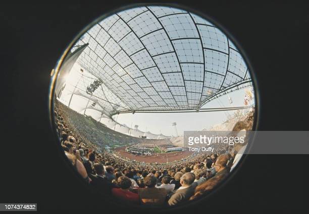 A fish eye lens view of the opening ceremony of the XX Summer Olympic Games on 26 August 1972 at the Olympic Stadium in Munich Germany
