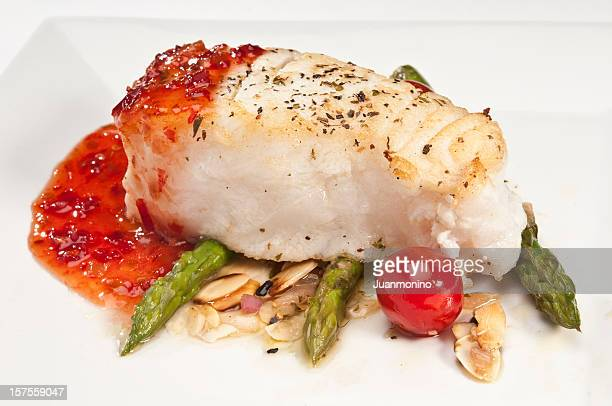 Fish fillet with asparagus