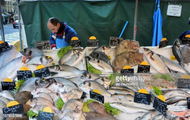 Fish for sale at Maubert market in Paris, France