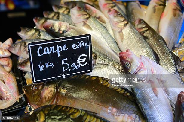 fish for sale in a Paris food market