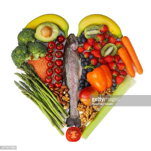 Fish fruit & vegetables part of Mediterranean diet