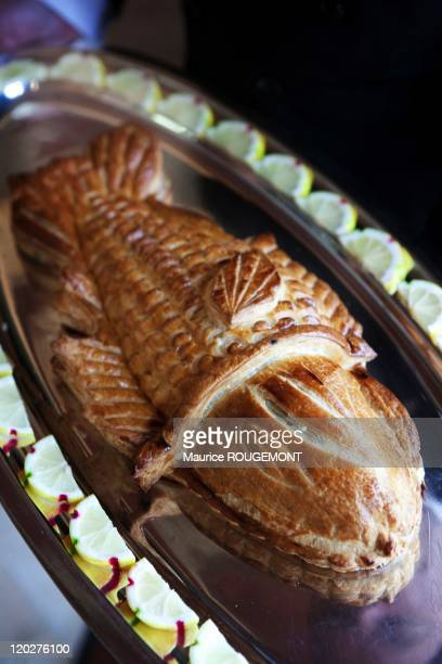 Fish in a puff pastry crust in the restaurant 'Paul Bocuse' on February 8 2011 in CollongesauMontd'Or near LyonFrance