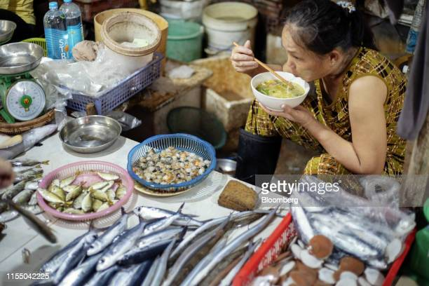 Fish is displayed for sale at Tan Quang market in Quang Nam province Vietnam on Wednesday June 26 2019 Fishermen are on the front lines of Asias most...