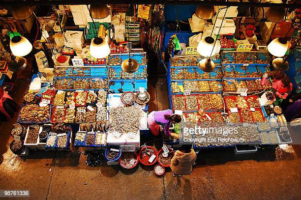 fish market from above. - seoul stock pictures, royalty-free photos & images