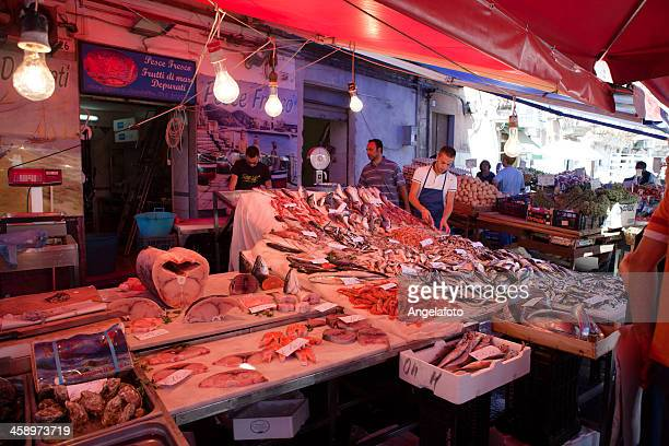 fish market in catania, sicily, italy - catania stock photos and pictures