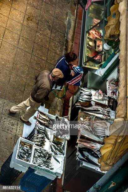 Fish market in the Bolhão market in Porto, Portugal