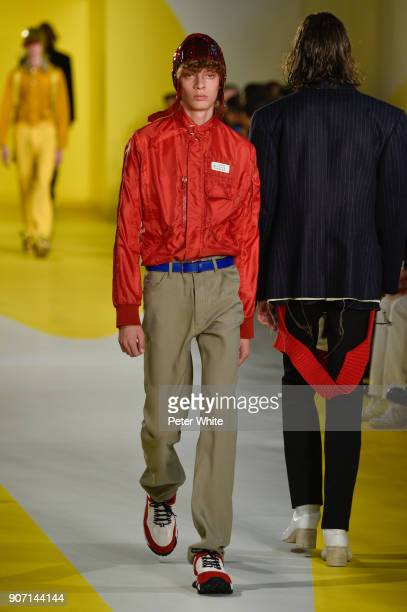 Fish Money walks the runway during the Maison Margiela Menswear Fall/Winter 20182019 show as part of Paris Fashion Week on January 19 2018 in Paris...