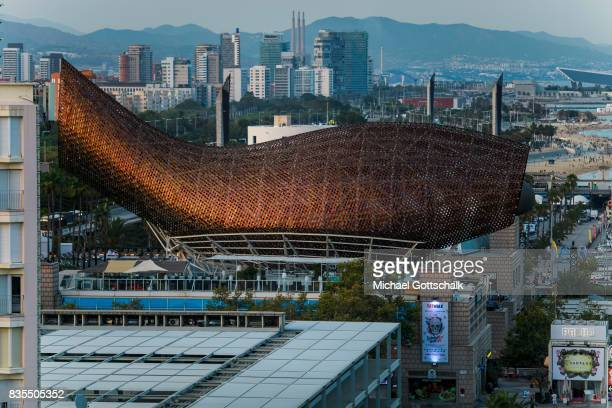 Fish or Peix Sculpture of architect Frank Gehry on August 18 2017 in Barcelona Spain