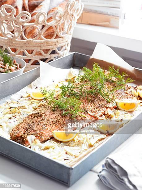 Fish prepared to bake