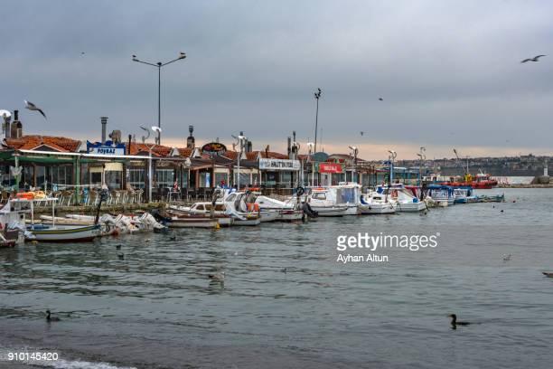 Fish Restaurants at Silivri waterfront and marina,Istanbul,Turkey