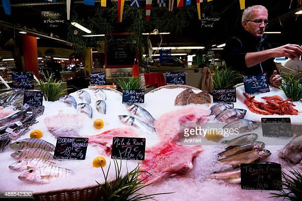 Fish stall at Marché des Capucins, Bordeaux, France