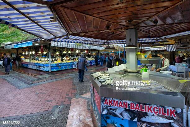 fish stands in the fish market ,fethiye. - emreturanphoto stock pictures, royalty-free photos & images