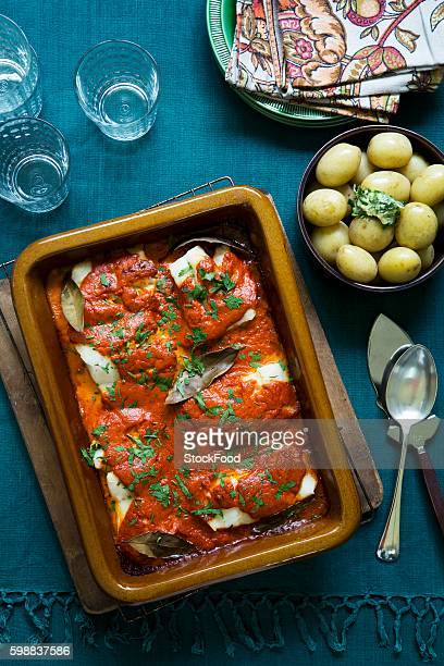 Fish stew with paprika sauce; served with boiled potatoes