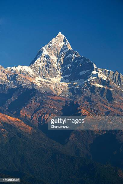 fish tail mountain - machapuchare stock photos and pictures