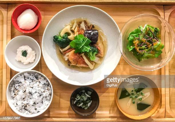 fish teishoku food model - washoku fotografías e imágenes de stock