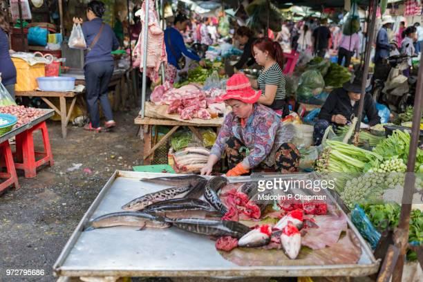 Fish trader, gutting and cutting fish at Phsar Kandal Market, Phnom Penh, Cambodia