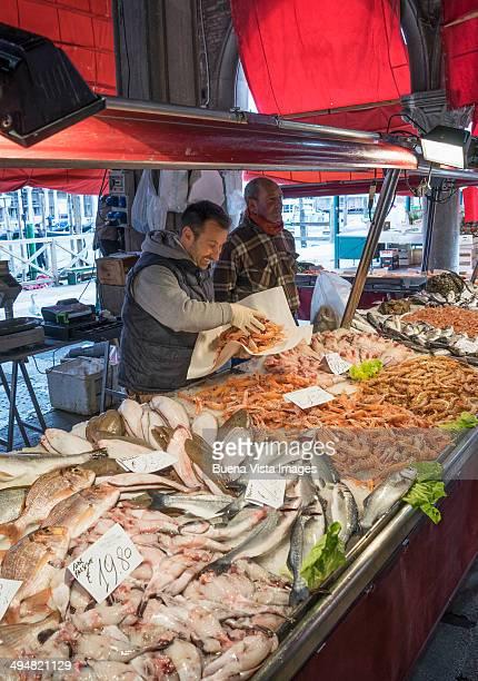 Fish vendor at he Rialto Market