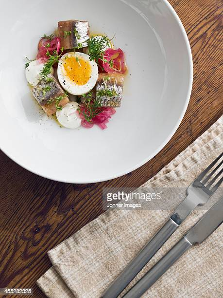 Fish with egg and dill