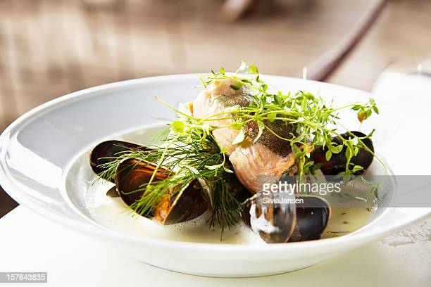 fish with mussel sauce