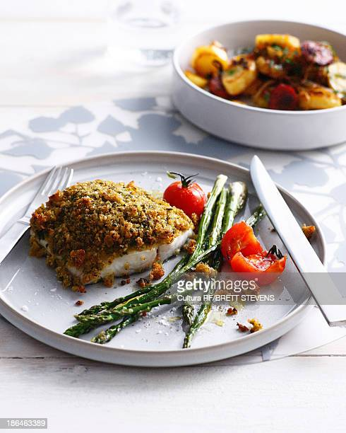 Fish with romesco crust and asparagus