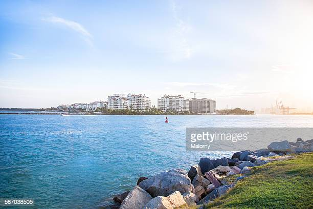 Fisher island as seen from South Miami beach