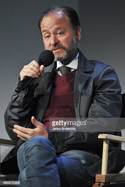 Fisher Stevens discusses the environmental documentary 6 at the Apple Store Soho on April 26 2014 in New York City