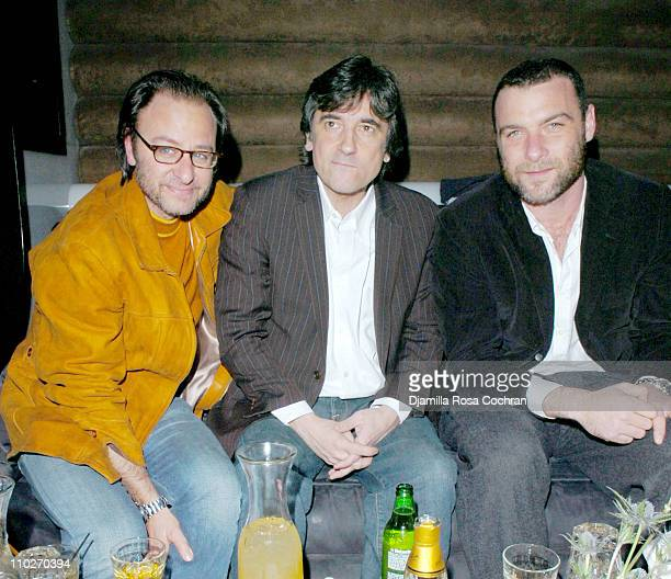Fisher Stevens Griffin Dunne and Liev Schreiber during Liev Schreiber Hosts Dewars 12 Hot Scot at Cielo Arrivals and Inside at Cielo in New York City...