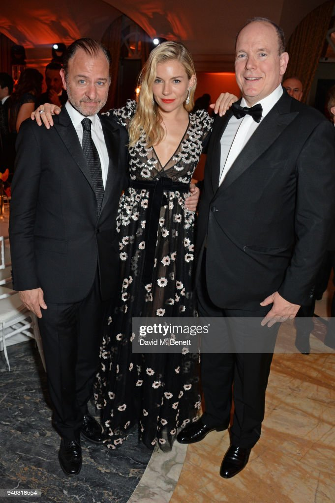 Fisher Stevens, Sienna Miller and Prince Albert II of Monaco attend the ABB FIA Formula E Gala Dinner hosted by Bulgari at Villa Miani on April 14, 2018 in Rome, Italy.