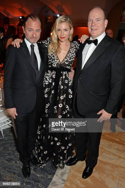 Fisher Stevens Sienna Miller and Prince Albert II of Monaco attend the ABB FIA Formula E Gala Dinner hosted by Bulgari at Villa Miani on April 14...