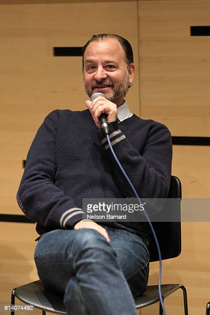 Fisher Stevens speaks on stage at the NYFF Live Documentary Panel during 54th New York Film Festival at The Film Centre Amphitheatre on October 11...