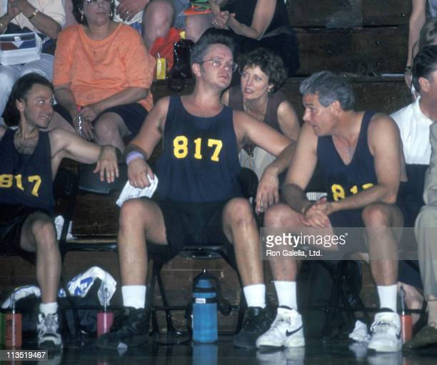 Fisher Stevens Tim Robbins and Susan Sarandon during Teamsters vs Shotting Gallery Charity Basketball Game June 17 1995 at Mount Saind Michael...