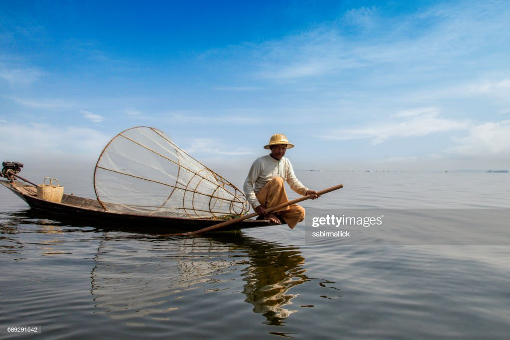 Fisherman at Inle Lake, Myanmar. : Stock Photo