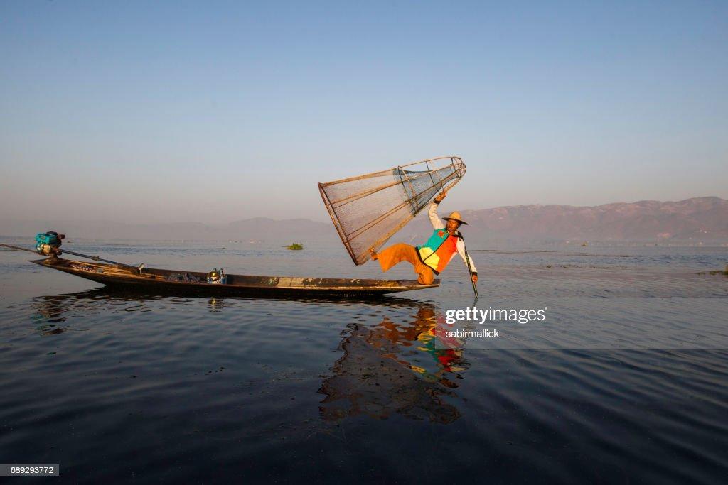 Fisherman at Inle Lake, Myanmar. : Stock Photo