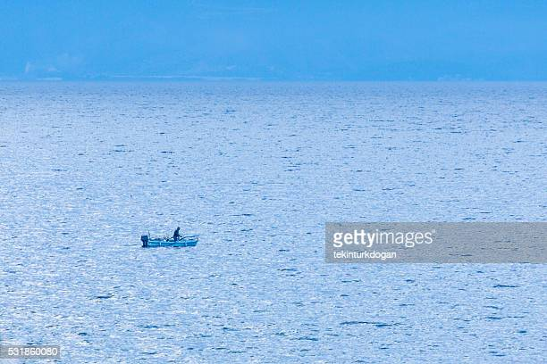 fisherman at sea near thassos island of kavala greece