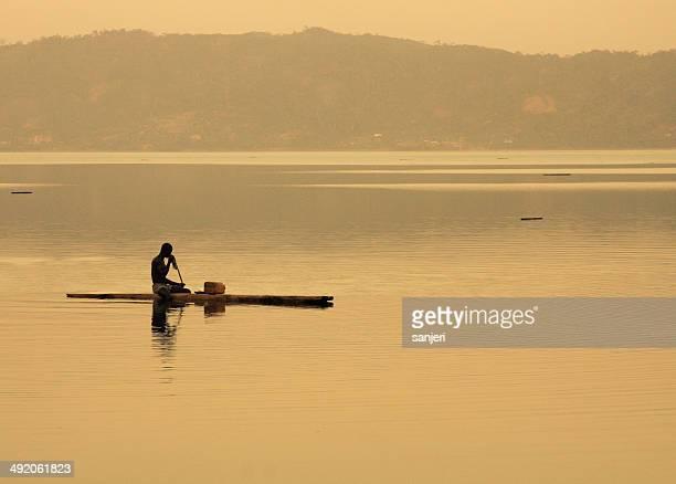 Fisherman at the lake Bosumtwi, Ghana