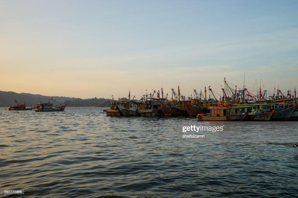 Fisherman boats in Kota Kinabalu : Stock Photo